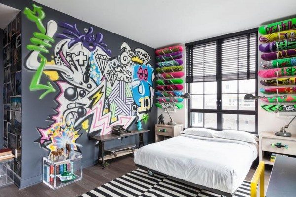 le style street art dans la d coration d une chambre ado. Black Bedroom Furniture Sets. Home Design Ideas