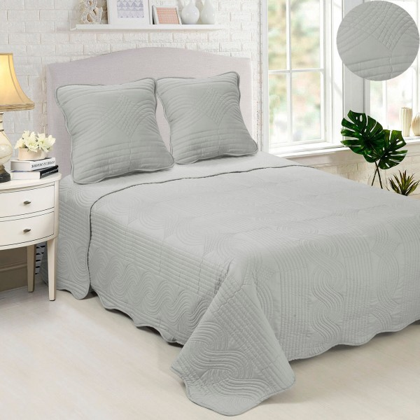 best-interior-couvre-lit-motif-piqué-vague-gris-clair