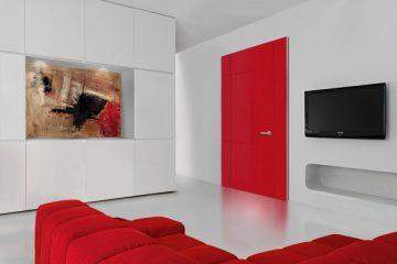 Porte intérieure rouge en bloc porte